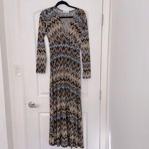 Veronica M, chevron print, maxi dress. Size Medium